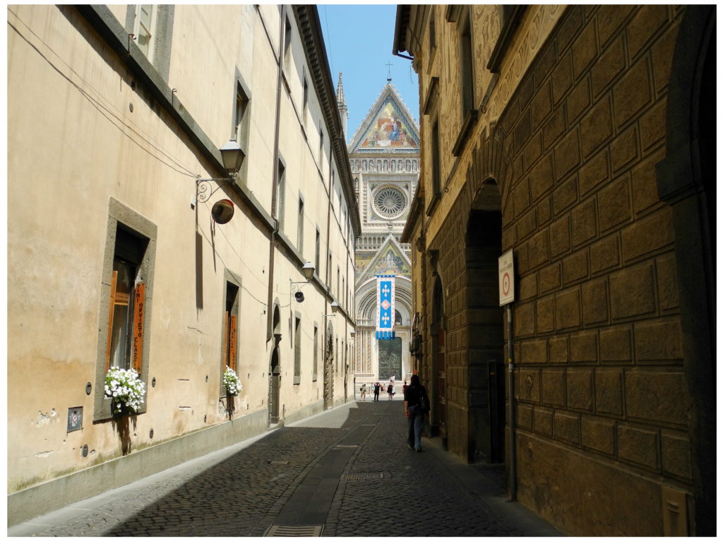 typical view of Orvieto avenues with the Duomo in the distance